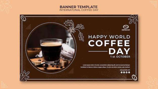 Modèle de concept de bannière de la journée internationale du café