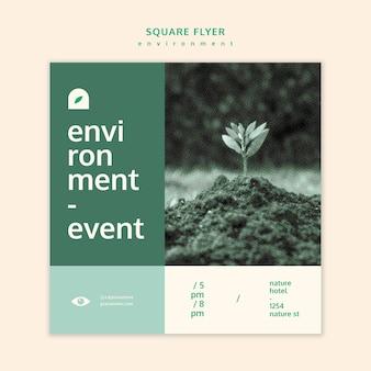 Modèle de concept de flyer carré environnement