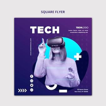 Modèle de concept de flyer carré tech & future