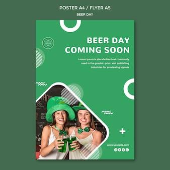 Modèle de concept de flyer de jour de bière