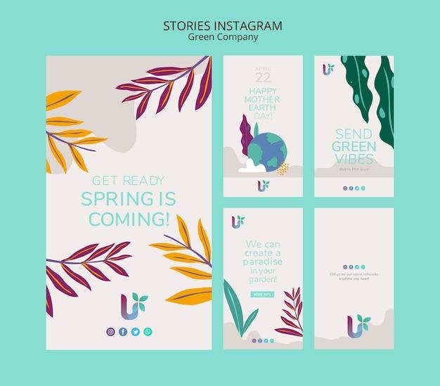 Modèle de concept d'histoires d'affaires coloré instagram