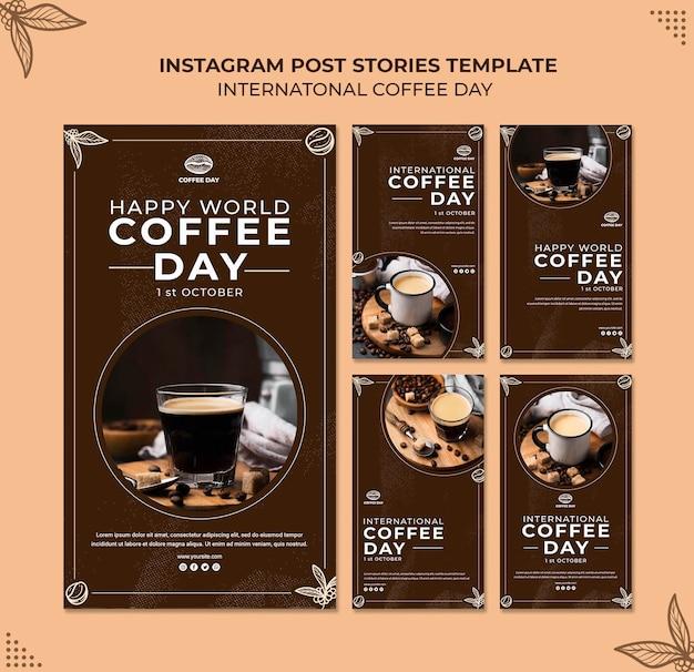 Modèle de concept d'histoires instagram pour la journée internationale du café