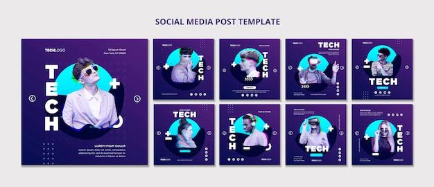 Modèle de concept de modèle de publication de médias sociaux tech & future
