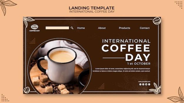 Modèle de concept de page de destination de la journée internationale du café
