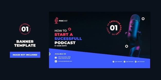Modèle de concept de podcast modèle de bannière professionnelle