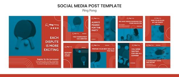 Modèle de concept de publication de médias sociaux de ping-pong