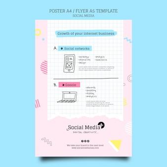 Modèle de conception d'affiche d'agence de marketing de médias sociaux