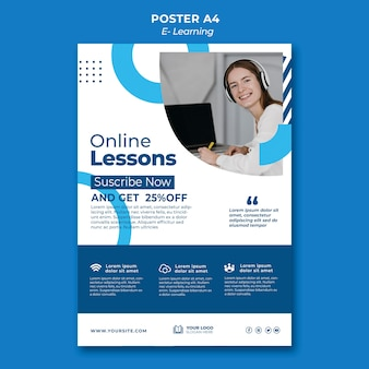 Modèle de conception d'affiche d'apprentissage en ligne