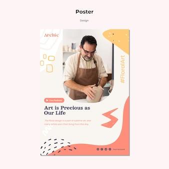 Modèle de conception d'affiche d'atelier d'art
