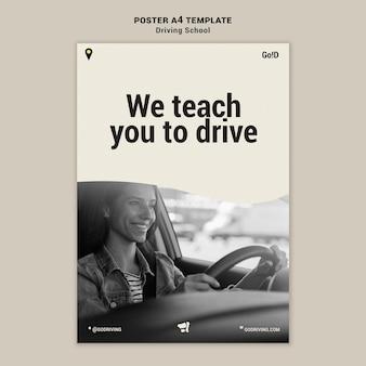 Modèle de conception d'affiche d'auto-école