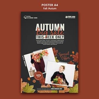 Modèle de conception d'affiche d'automne