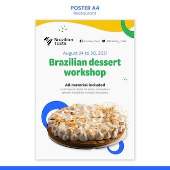Modèle de conception d'affiche de cuisine brésilienne