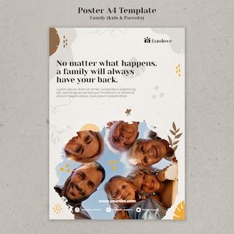 Modèle de conception d'affiche famille avec parents et enfants