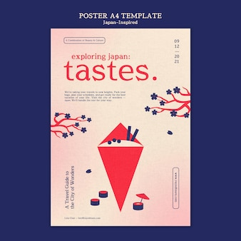 Modèle de conception d'affiche inspiré du japon
