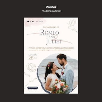 Modèle de conception d'affiche d'invitation de mariage