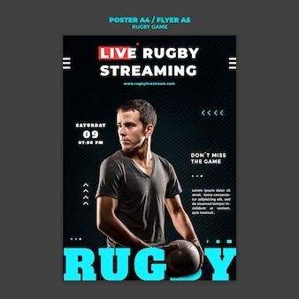 Modèle de conception d'affiche de match de rugby