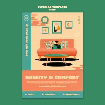 Modèle de conception d'affiche de meubles de couchage