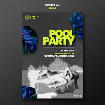 Modèle de conception d'affiche de musique de fête de piscine
