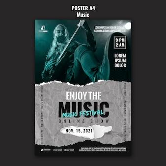 Modèle de conception d'affiche de musique