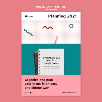 Modèle de conception d'affiche de planificateur d'événements