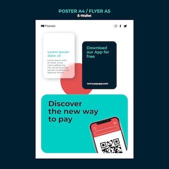 Modèle de conception d'affiche de portefeuille électronique