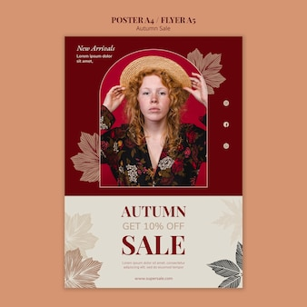 Modèle de conception d'affiche de vente d'automne