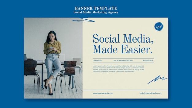 Modèle de conception de bannière d'agence de marketing de médias sociaux
