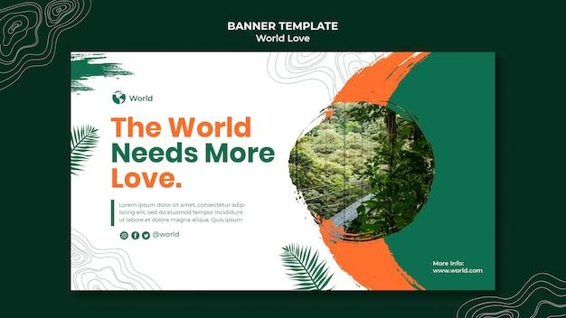 Modèle de conception de bannière d'amour du monde