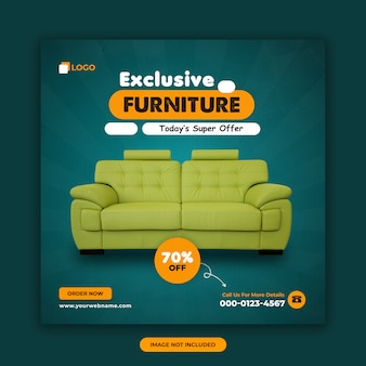 Modèle de conception de bannière carrée de vente de meubles exclusive