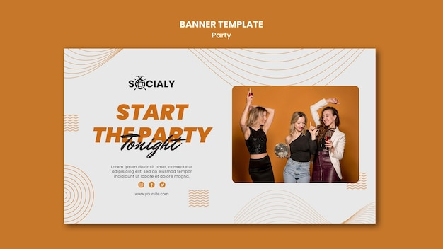 Modèle de conception de bannière de concept de fête