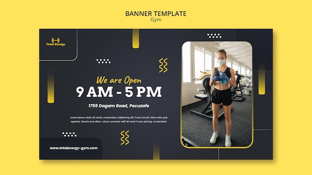 Modèle de conception de bannière de gym