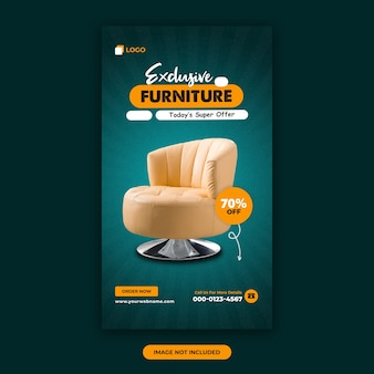 Modèle de conception de bannière d'histoires instagram de vente de meubles