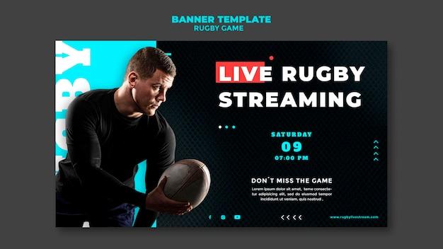 Modèle de conception de bannière de jeu de rugby