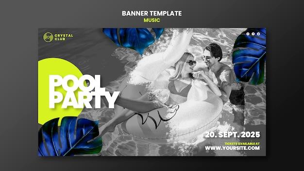 Modèle de conception de bannière de musique de fête de piscine