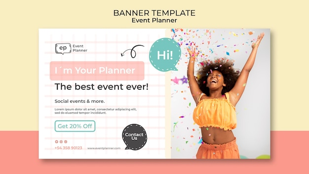 Modèle de conception de bannière de planificateur d'événements