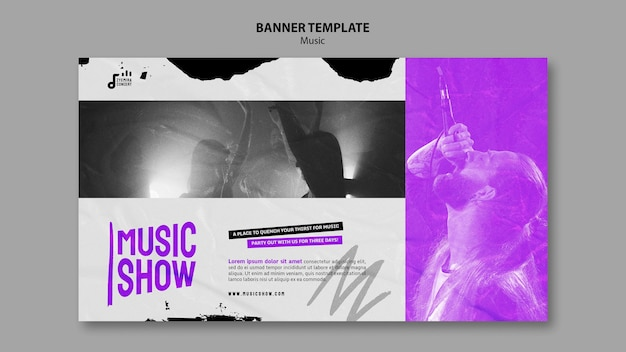 Modèle de conception de bannière de spectacle de musique