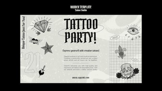 Modèle de conception de bannière de studio de tatouage