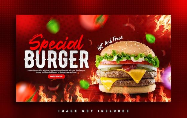 Modèle de conception de bannière web burger food menu