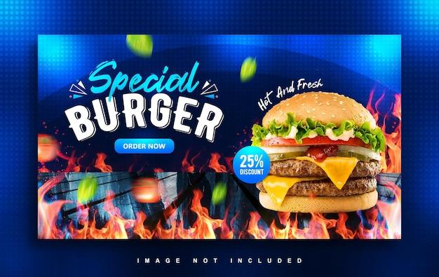 Modèle de conception de bannière web spécial burger food menu