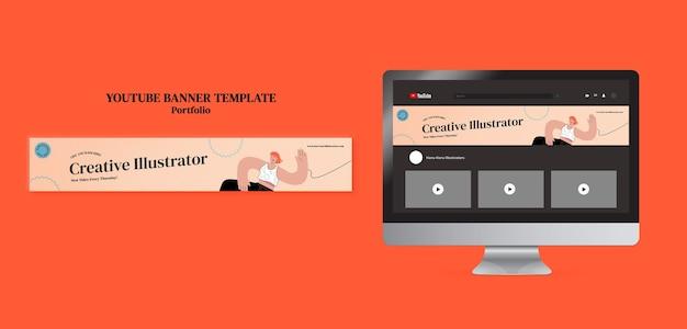 Modèle de conception de bannière youtube de portefeuille