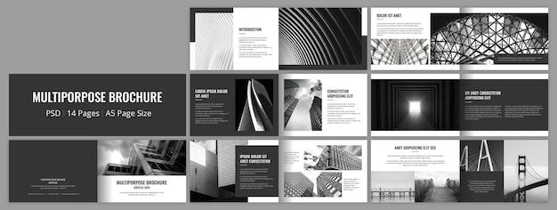 Modèle de conception de brochure polyvalent noir et paysage