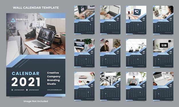 Modèle de conception de calendrier mural d'agence créative