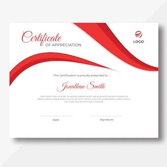 Modèle de conception de certificat de vagues rouges