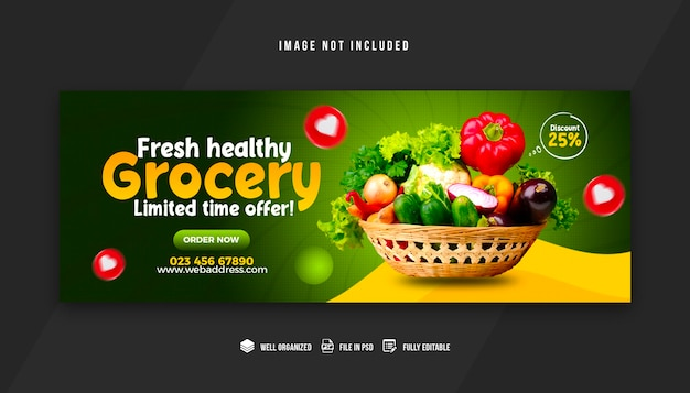 Modèle de conception de couverture facebook de légumes et d'épicerie