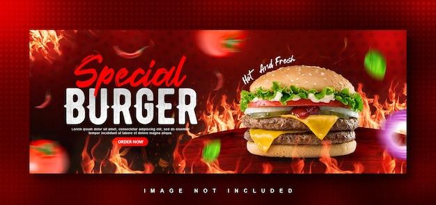 Modèle de conception de couverture facebook de menu de nourriture burger