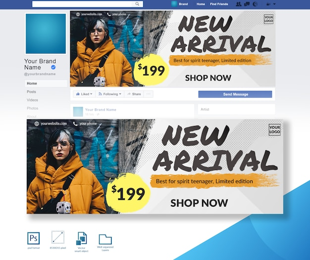 Modèle de conception de couverture facebook pour une offre de vente sur la vente à la mode