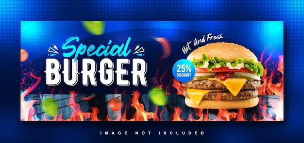 Modèle de conception de couverture facebook spécial burger food menu