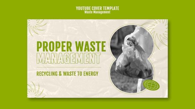 Modèle de conception de couverture youtube de gestion des déchets