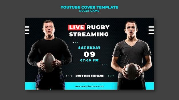 Modèle de conception de couverture youtube de jeu de rugby