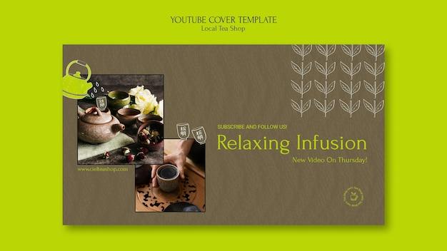 Modèle de conception de couverture youtube de magasin de thé local